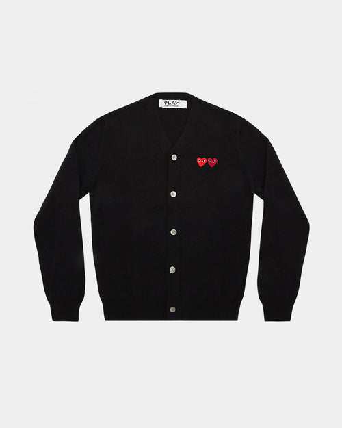 MEN'S CARDIGAN N058 DOUBLE HEART / BLACK