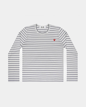 MEN'S T-SHIRT T218 LS STRIPE MINI RED HEART / GREY