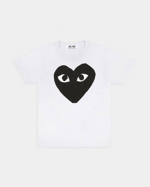 MEN'S T-SHIRT T070 BIG BLACK HEART PRINT / WHITE