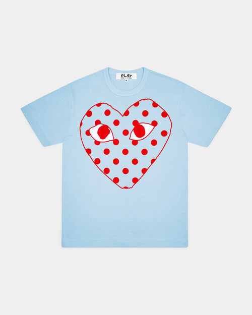 WMN'S T-SHIRT T275 POLKA DOT HEART / BLUE
