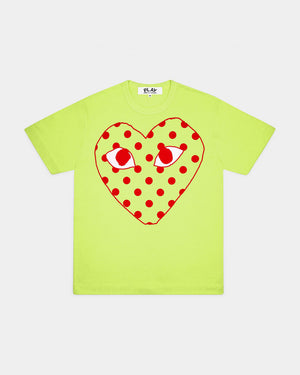 WMN'S T-SHIRT T275 POLKA DOT HEART / GREEN
