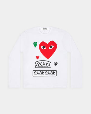 WMN'S T-SHIRT T283 LS / WHITE RED HEART