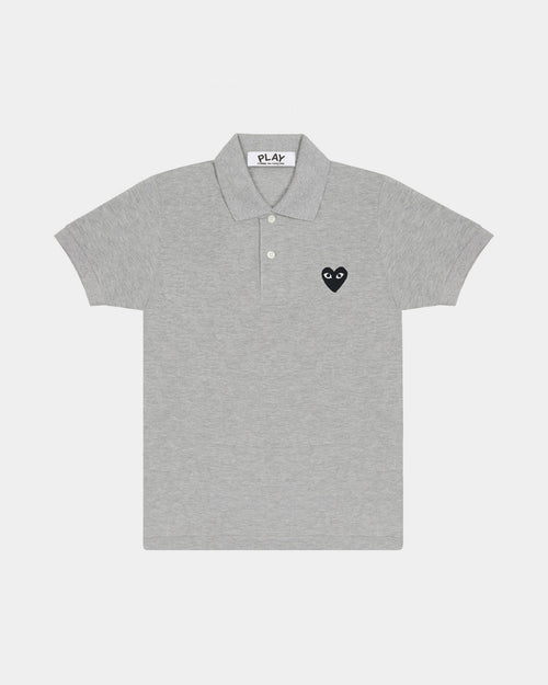MEN'S POLO SHIRT T078 BLACK HEART PATCH / GREY