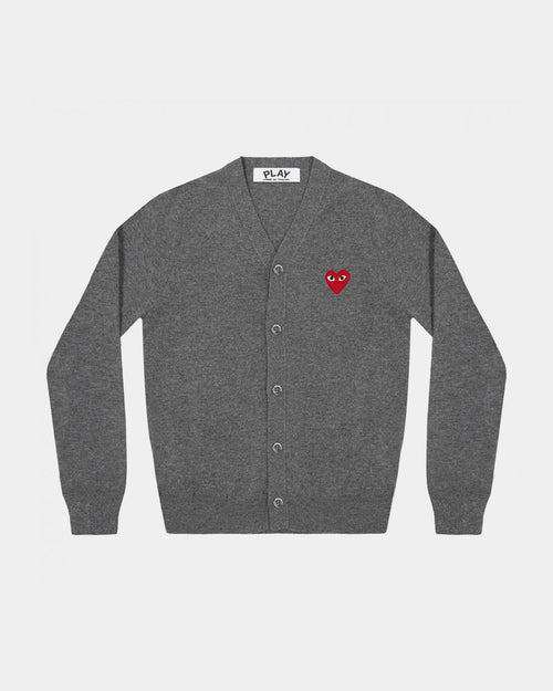 MEN'S CARDIGAN N008 RED HEART PATCH / GREY