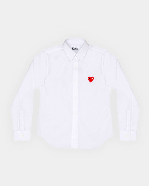WMN'S SHIRT B001 RED HEART / WHITE