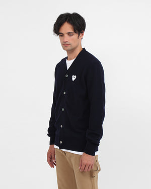 MEN'S CARDIGAN N062 WHITE HEART / NAVY