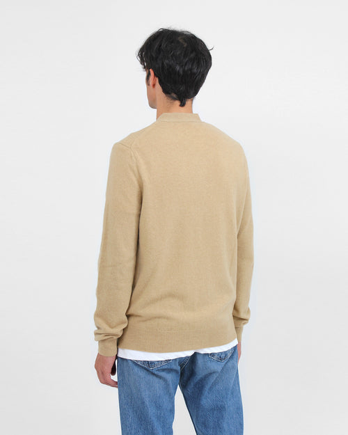 MEN'S CARDIGAN N066 WHITE HEART / CAMEL