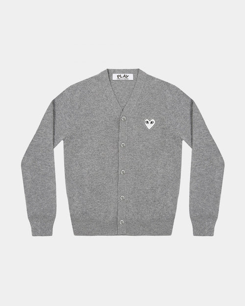MEN'S CARDIGAN N066 WHITE HEART / LIGHT GREY