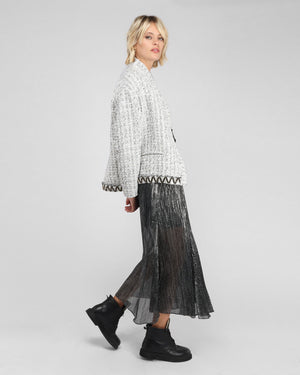 RINA PLEATED SKIRT / BLACK SILVER