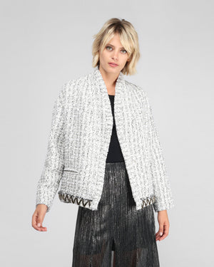 SKIA TWEED JACKET / WHITE BLACK