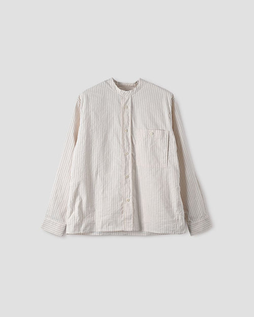 COLLARLESS PAINTERS SHIRT / OFF WHITE