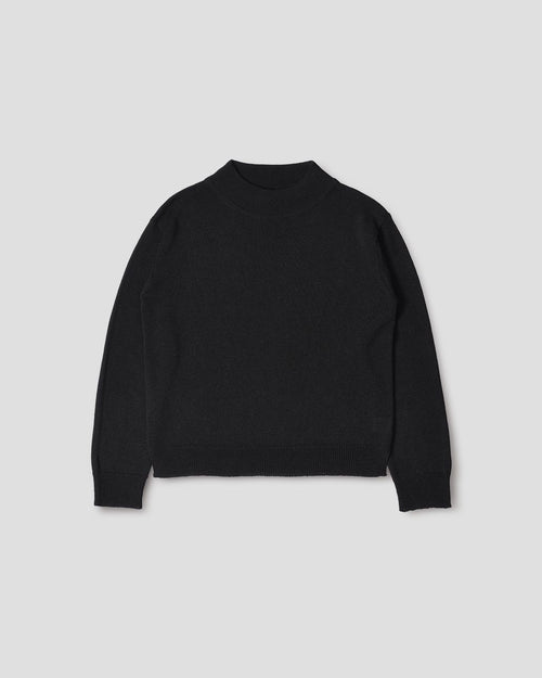 DEEP TRIM JUMPER LINEN WOOL / BLACK