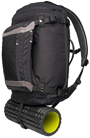 foam roller strapped to backpack