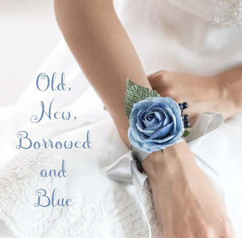 Old, new, borrowed and blue flower wrist band