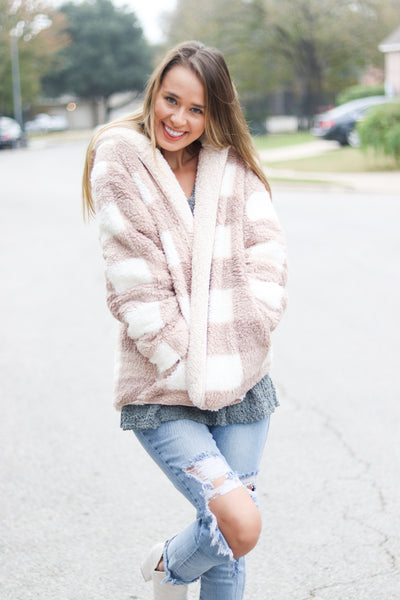 Inside Out Plaid Teddy Sherpa Jacket