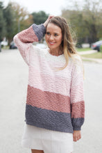 Load image into Gallery viewer, Sunset Stripes Colorblock Popcorn Sweater