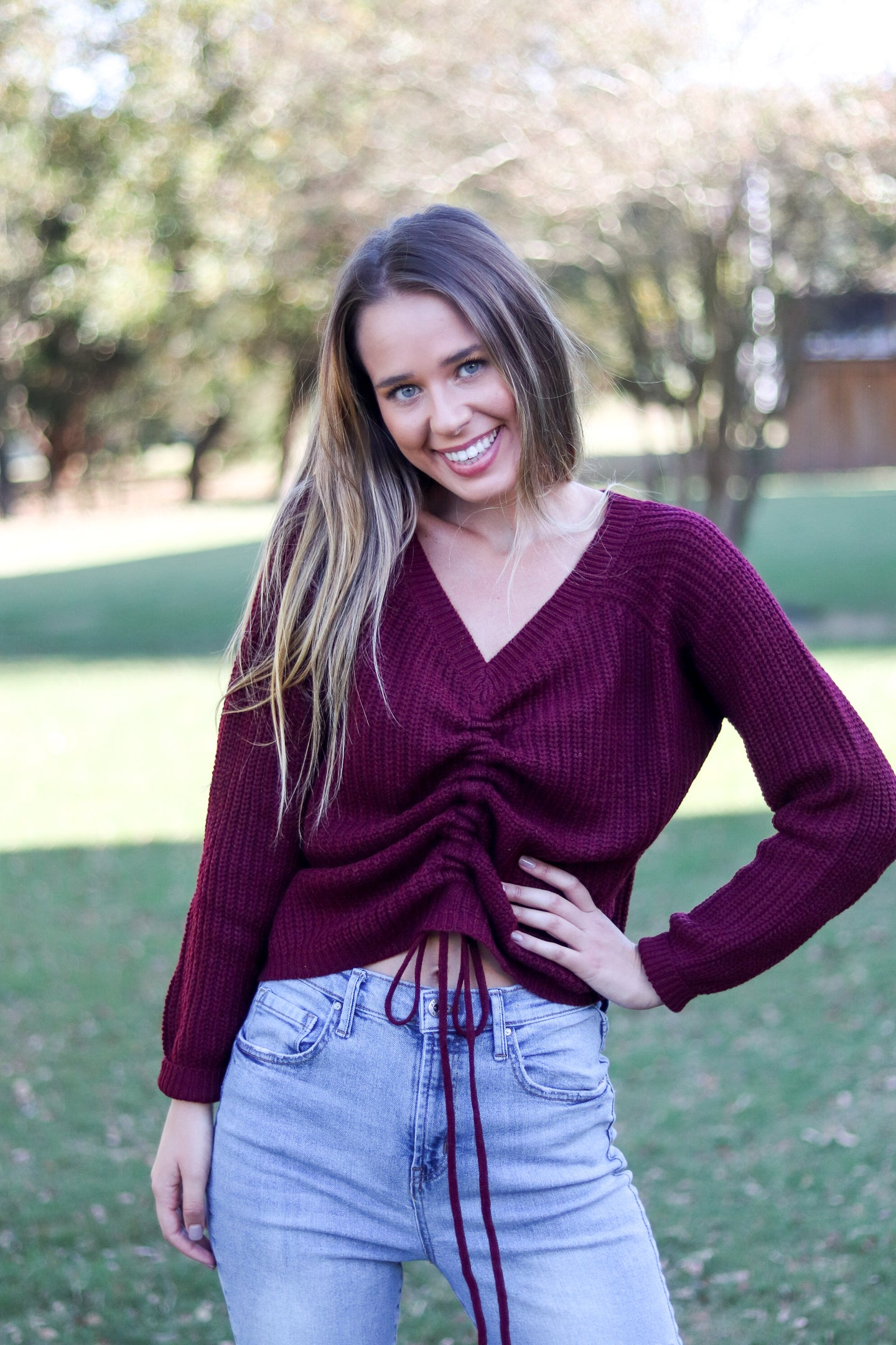 All Tied Up Wine Sweater