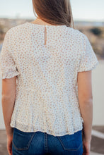 Load image into Gallery viewer, It's a Lovely Day Blue & Gold Floral Top