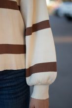 Load image into Gallery viewer, Stay Awhile Brown Striped Sweater