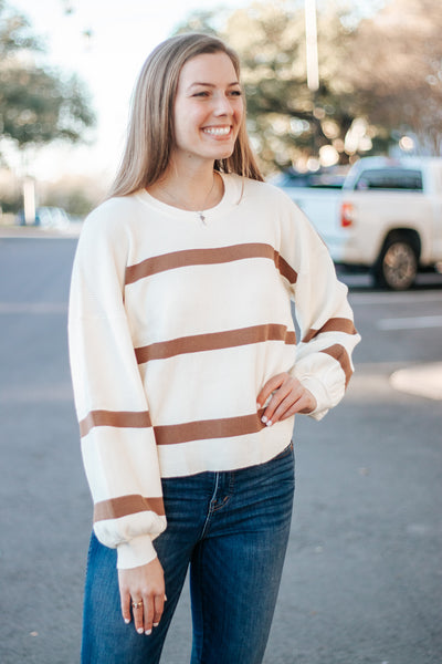 Stay Awhile Brown Striped Sweater