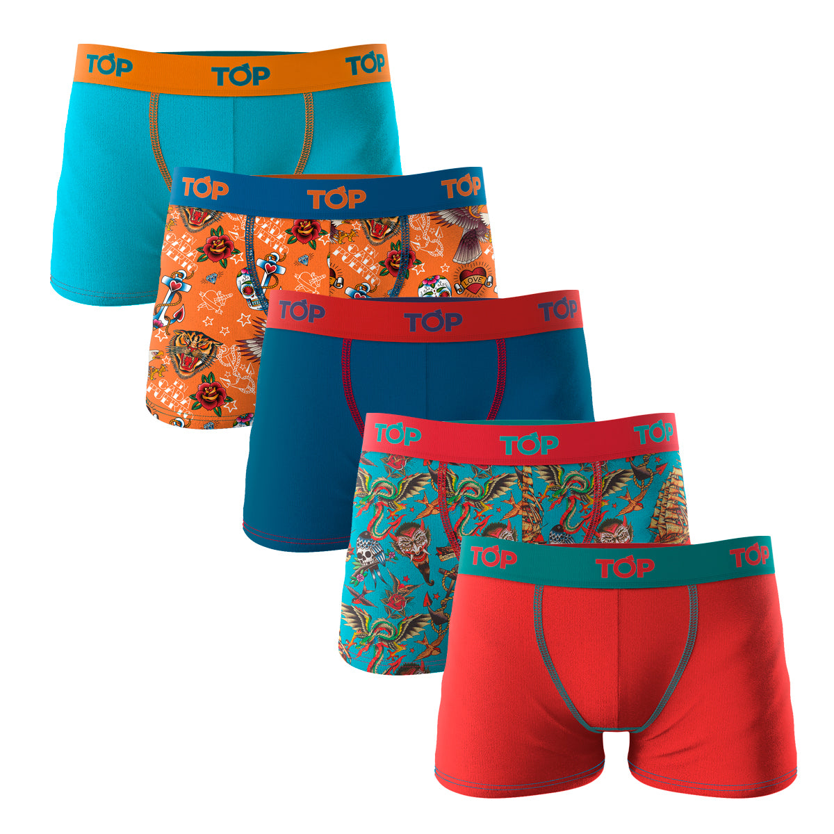 Boxer Niño Microfibra Tattoo OLD SCHOOL Pack 5 C1