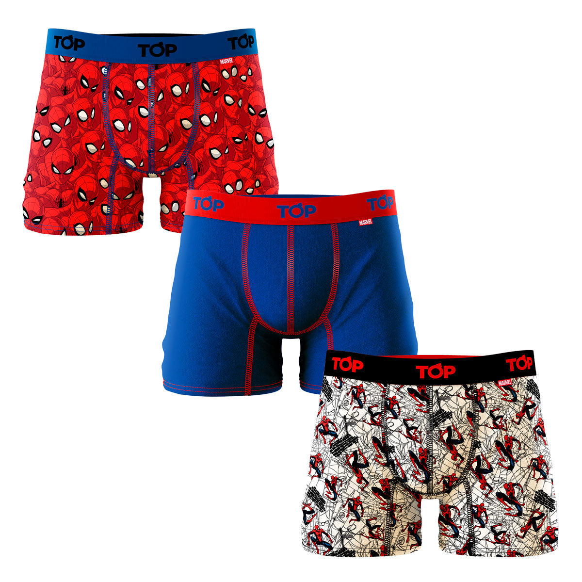Boxer Medio Marvel Algodón Pack 3 Spider Man C2