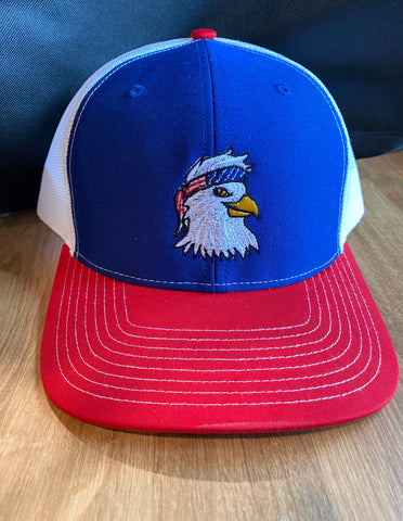 red white and blue richardson 112 cap with bald eagle with bandana embroidery | Shop handmade apparel, homewares, gifts, & more at The Branded Iron. Or, contact us today for all your small business customization needs: tees, hats, cups, & more...we do it all. Proudly located in Boerne, Texas.
