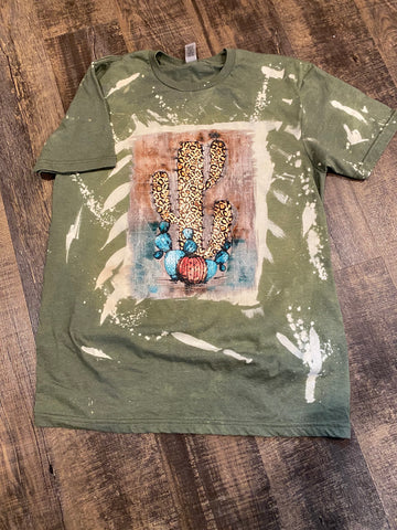 leopard print cactus hand bleached tee shirt | screen printing by the branded iron | Shop handmade apparel, homewares, gifts, & more at The Branded Iron. Or, contact us today for all your small business customization needs: tees, hats, cups, & more...we do it all. Proudly located in Boerne, Texas.