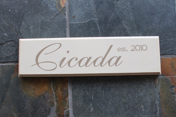 Family Name Established Date Wood Sign - The Harbin (S-006)