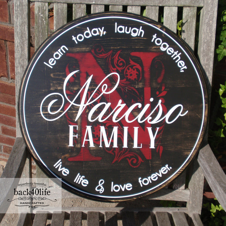 Embellished Monogram Initial Family Name Wood Sign (S-011)