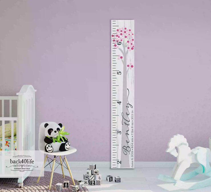 Wooden Kids Growth Height Chart Ruler for Boys and Girls (The Bentley) - Express Edition