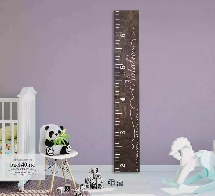Wooden Kids Growth Height Chart Ruler for Boys and Girls (The Natalie) - Express Edition