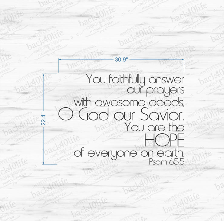 Hope - Psalm 65:5 Vinyl Wall Decal (B-005)