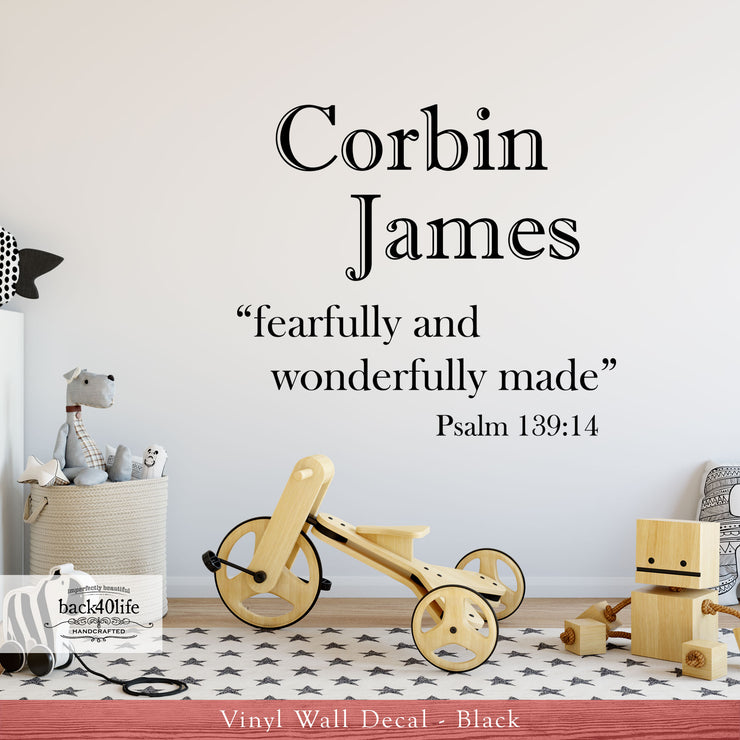 Fearfully and Wonderfully Made WITH NAME - Psalm 139:14 Vinyl Wall Decal (B-029b)