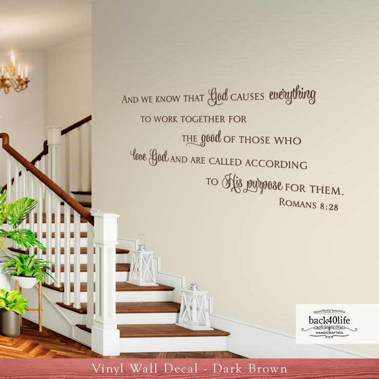 All Things Work Together - Romans 8:28 Vinyl Wall Decal (B-076)