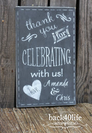 Wedding Celebration Painted Wooden Reception Sign (W-039)