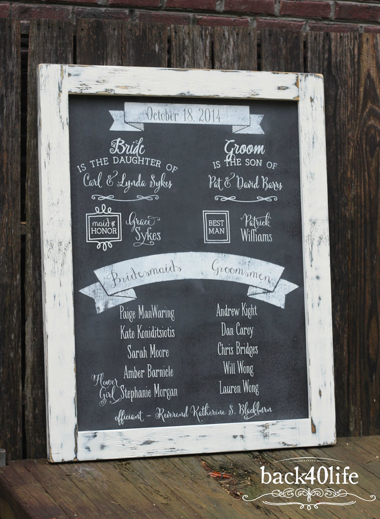 Wedding Program Welcome Sign with Chalkboard Finish (W-071)