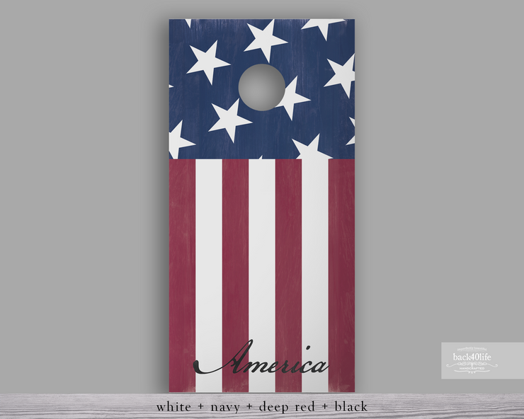 Handcrafted Patriotic Cornhole Set - America the Beautiful (CH-001a)