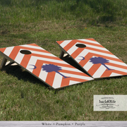 Handcrafted Cornhole Set - Palmetto Tree with Chevron Pattern (CH-001c)