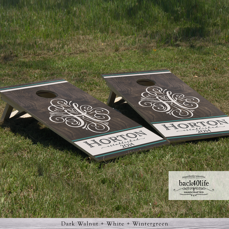 Handcrafted Wedding Cornhole Set - The Horton with Established Date (CH-001N)