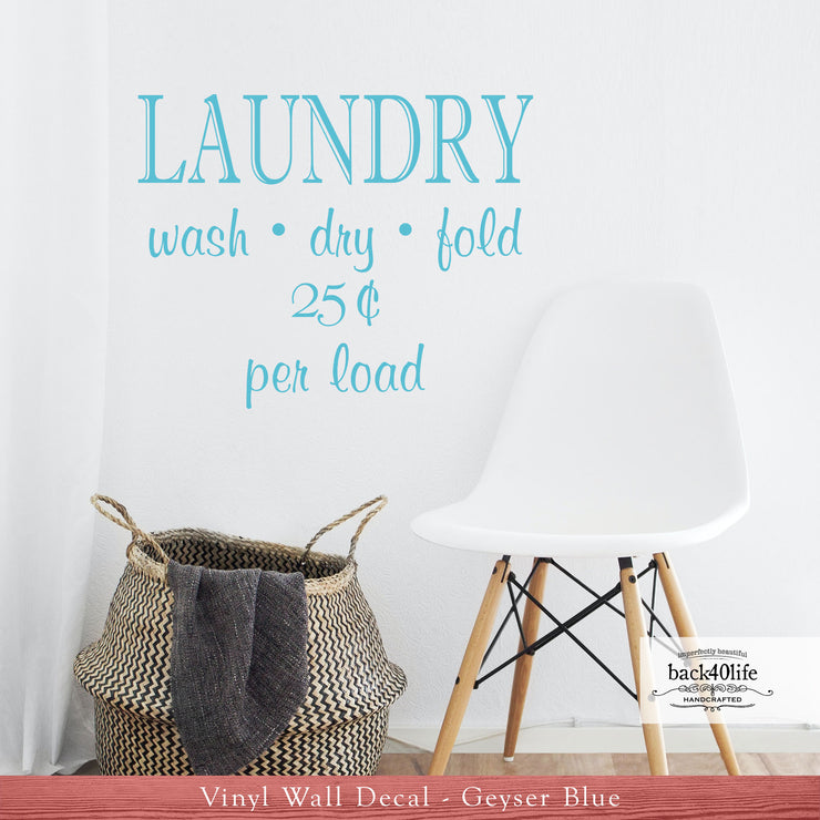 Laundry 25 cents Vinyl Wall Decal (D-006)