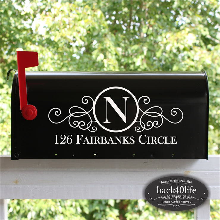 Swirly Mailbox Numbers Street Address Vinyl Decal (E-004a)