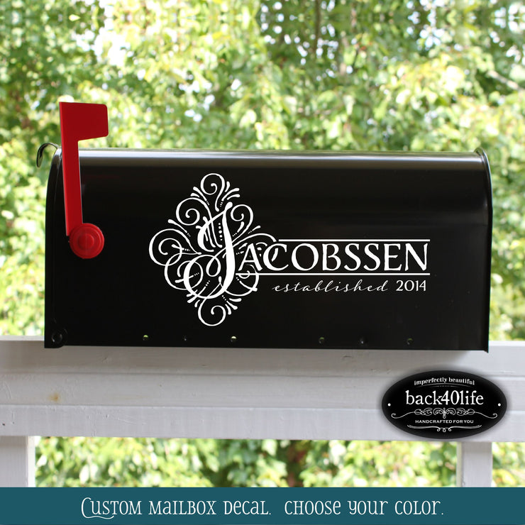 Jacobssen Mailbox Wedding Card Box Vinyl Decal (E-004n)