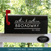 Mr and Mrs Broadway Mailbox Wedding Card Box Vinyl Decal (E-004p)