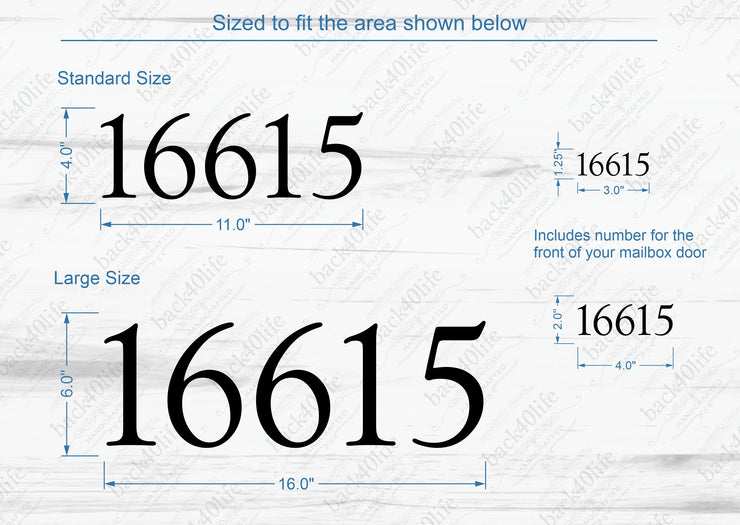 Mailbox Numbers Street Address Vinyl Decal (E-004r)