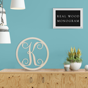 Precision Cut Vines Circle Wood Monogram Letter (LC-03)