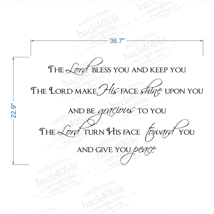 The Lord Bless and Keep You - Numbers 6:24-26 Vinyl Wall Decal (I-023)