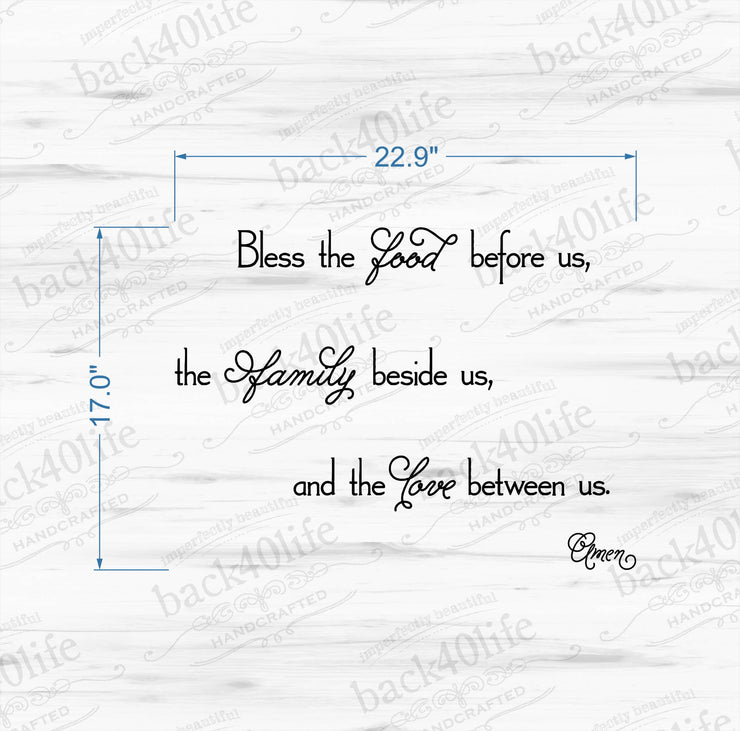 Bless the Food Vinyl Wall Decal (I-034)