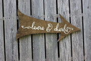 Personalized Calligraphy Wedding Directional Arrow Wood Sign (W-065)