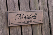 Family Name with Established Date Wood Sign - The Tompkins (S-033)